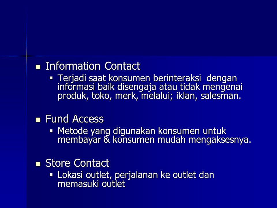 Information Contact Information Contact  Terjadi saat konsumen berinteraksi dengan informasi baik disengaja atau tidak mengenai produk, toko, merk, m