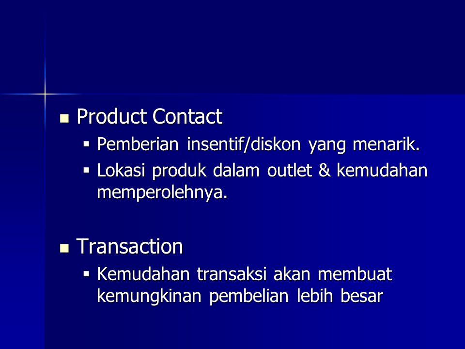 Product Contact Product Contact  Pemberian insentif/diskon yang menarik.  Lokasi produk dalam outlet & kemudahan memperolehnya. Transaction Transact