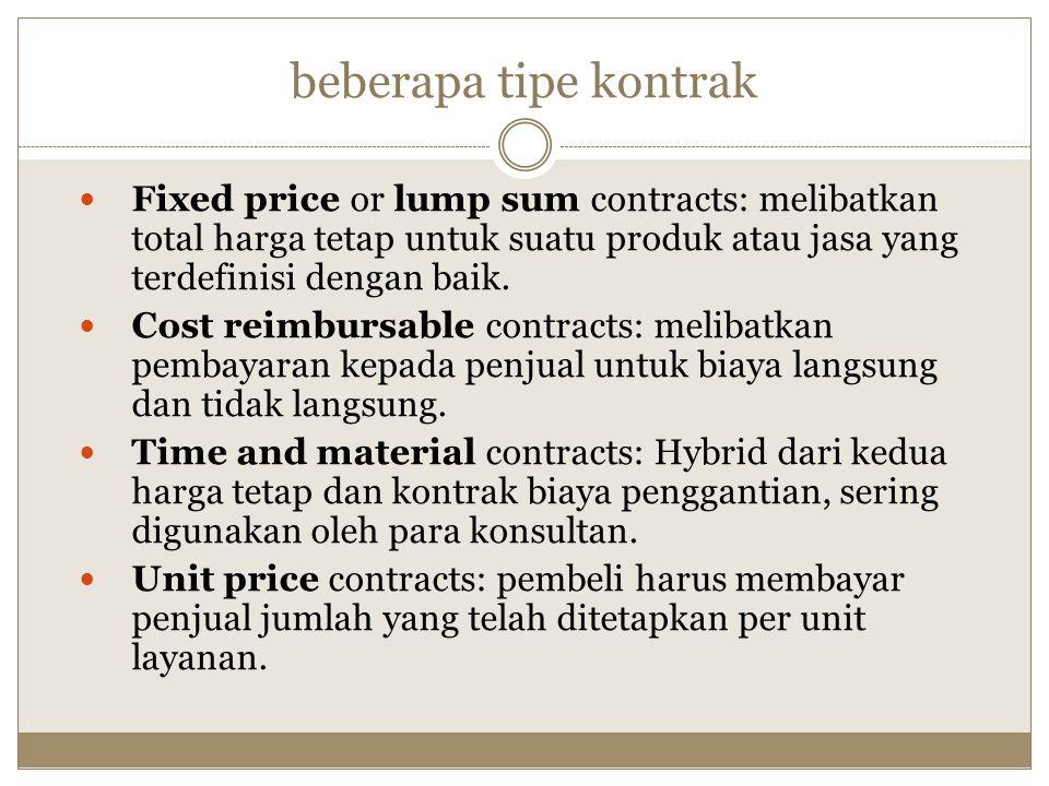 beberapa tipe kontrak Fixed price or lump sum contracts: melibatkan total harga tetap untuk suatu produk atau jasa yang terdefinisi dengan baik. Cost