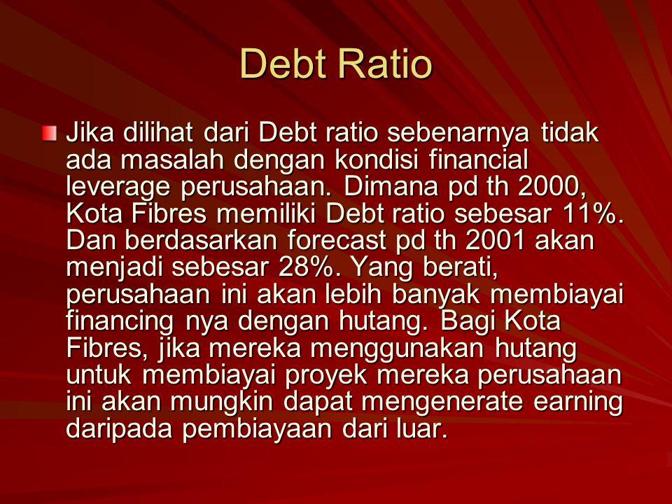 Debt Ratio Jika dilihat dari Debt ratio sebenarnya tidak ada masalah dengan kondisi financial leverage perusahaan.
