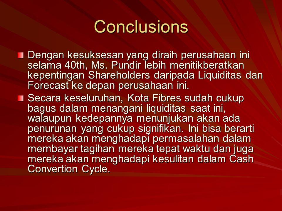 Conclusions Dengan kesuksesan yang diraih perusahaan ini selama 40th, Ms.