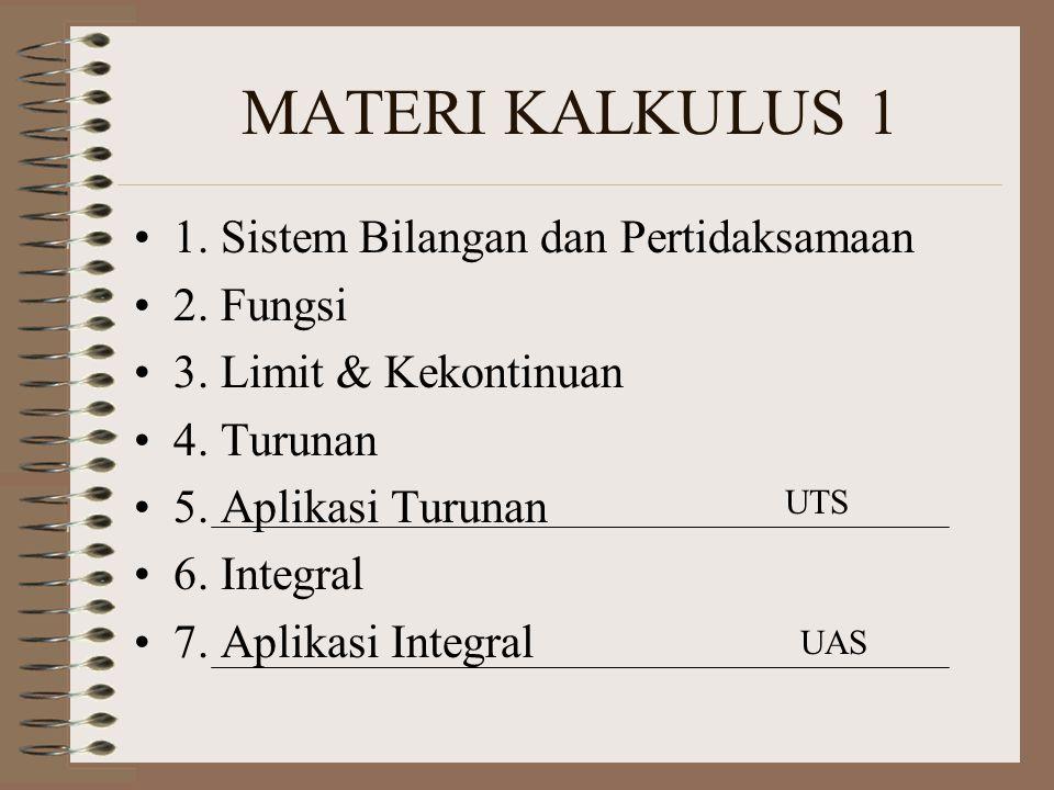 MATERI KALKULUS 1 1. Sistem Bilangan dan Pertidaksamaan 2. Fungsi 3. Limit & Kekontinuan 4. Turunan 5. Aplikasi Turunan 6. Integral 7. Aplikasi Integr
