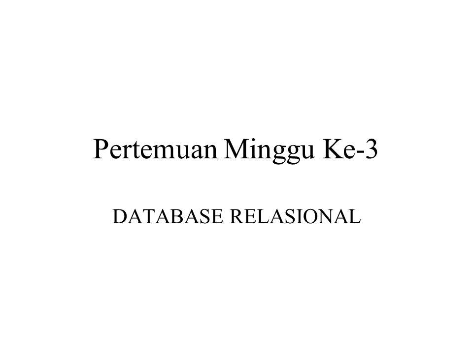 Pengertian Database Relasional Basis Data relasional menggunakan tabel dua dimensi yang terdiri atas baris dan kolom untuk memberi gambaran sebuah berkas data.
