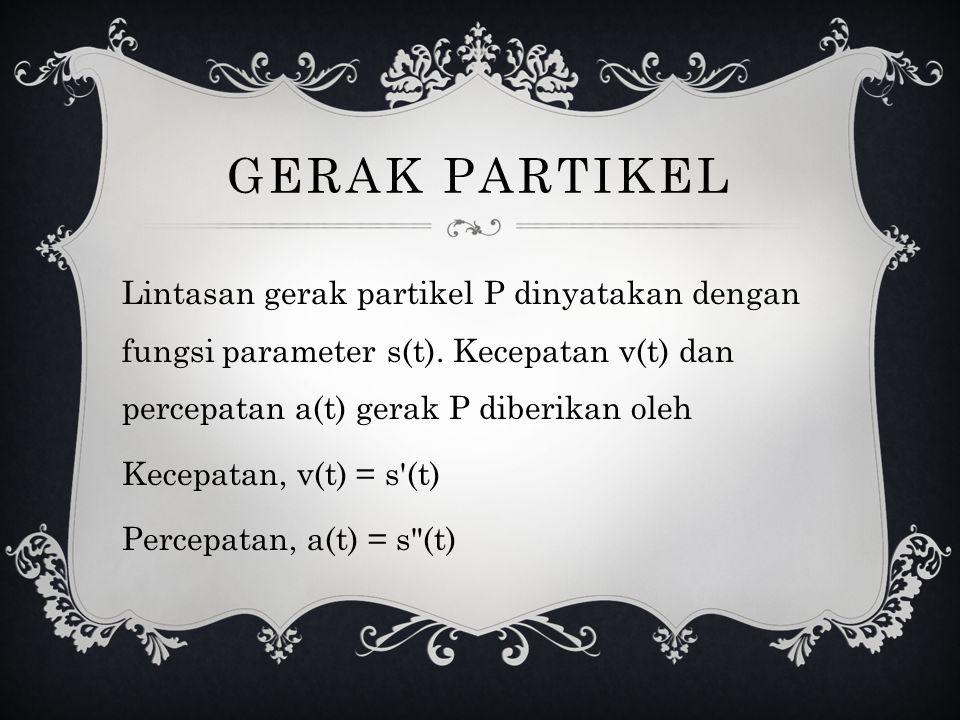GERAK PARTIKEL Lintasan gerak partikel P dinyatakan dengan fungsi parameter s(t). Kecepatan v(t) dan percepatan a(t) gerak P diberikan oleh Kecepatan,