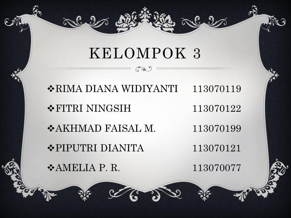 KELOMPOK 3  RIMA DIANA WIDIYANTI113070119  FITRI NINGSIH113070122  AKHMAD FAISAL M.113070199  PIPUTRI DIANITA113070121  AMELIA P. R.113070077