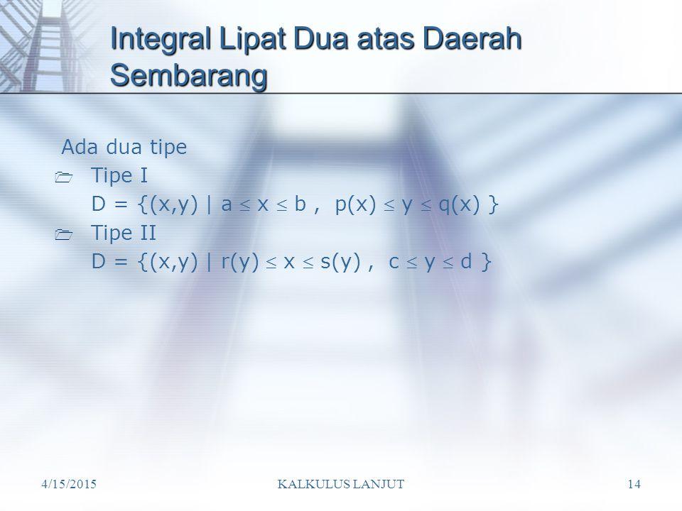 4/15/2015KALKULUS LANJUT14 Integral Lipat Dua atas Daerah Sembarang Ada dua tipe  Tipe I D = {(x,y) | a  x  b, p(x)  y  q(x) }  Tipe II D = {(x,