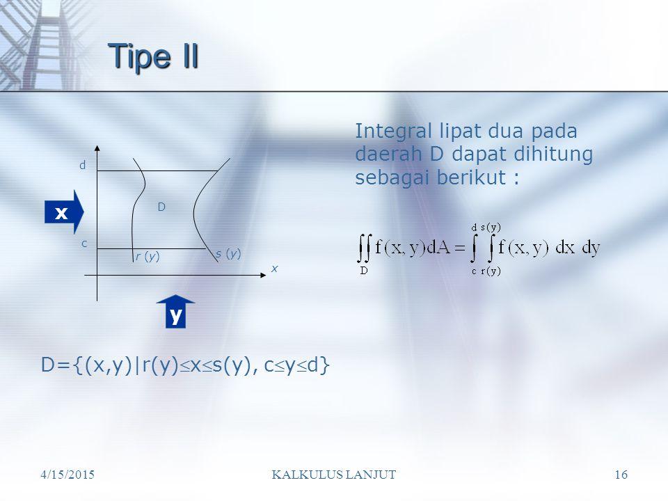 4/15/2015KALKULUS LANJUT16 Tipe II Integral lipat dua pada daerah D dapat dihitung sebagai berikut : D={(x,y)|r(y)xs(y), cyd} x y D c d r (y) s (y