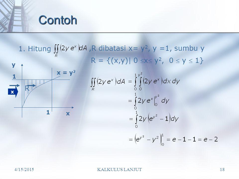 4/15/2015KALKULUS LANJUT18 Contoh 1. Hitung,R dibatasi x= y 2, y =1, sumbu y x R x y x = y 2 1 1 R = {(x,y)| 0  x  y 2, 0  y  1}