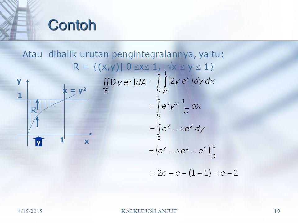 4/15/2015KALKULUS LANJUT19 Contoh Atau dibalik urutan pengintegralannya, yaitu: R R = {(x,y)| 0  x  1,  x  y  1} y x y x = y 2 1 1