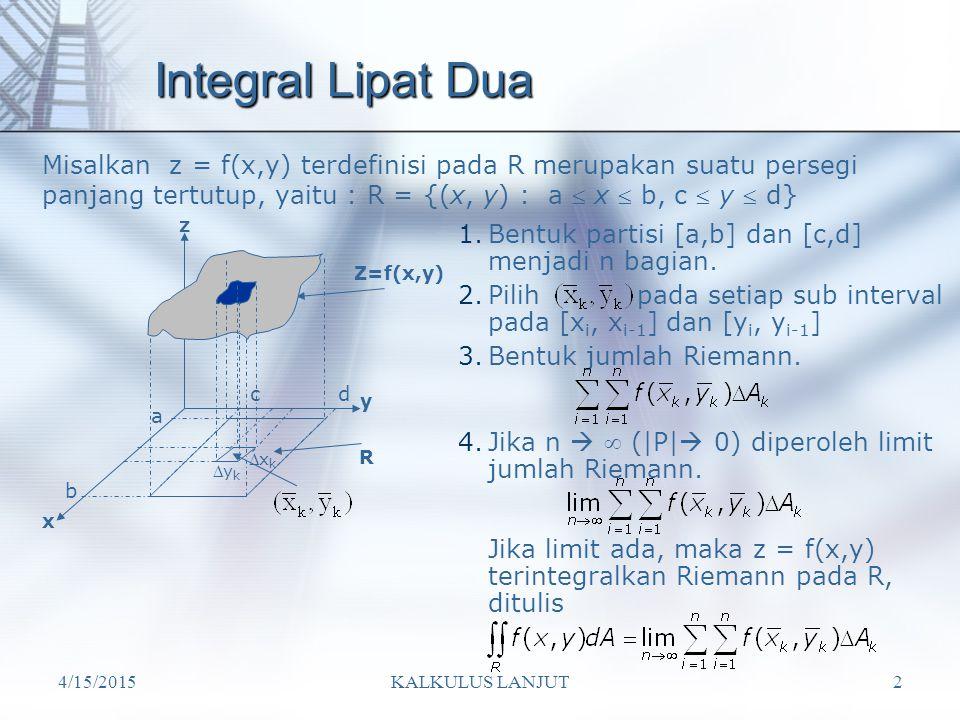 4/15/2015KALKULUS LANJUT2 Integral Lipat Dua Z=f(x,y) x y z b a R cd xkxk ykyk 1.Bentuk partisi [a,b] dan [c,d] menjadi n bagian. 2.Pilih pada set