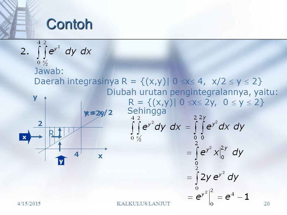 4/15/2015KALKULUS LANJUT20 Contoh Daerah integrasinya R = {(x,y)| 0  x  4, x/2  y  2} Jawab: x R x y y = x/2 4 2 y Diubah urutan pengintegralannya