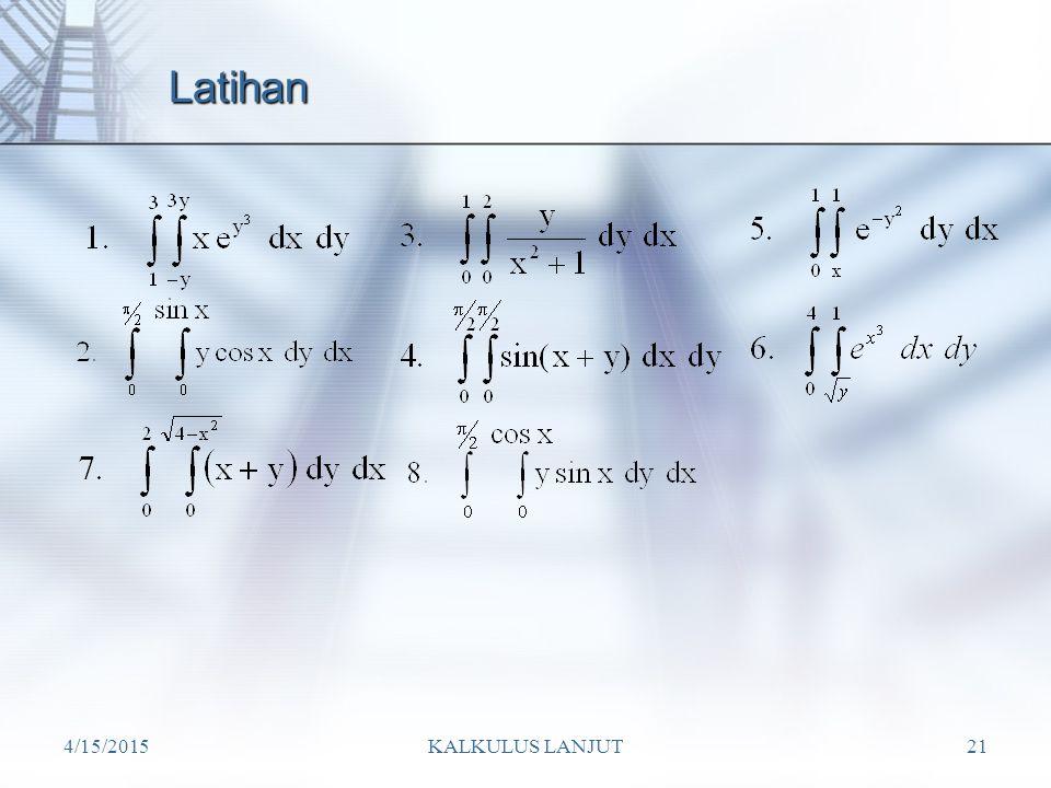 4/15/2015KALKULUS LANJUT21 Latihan
