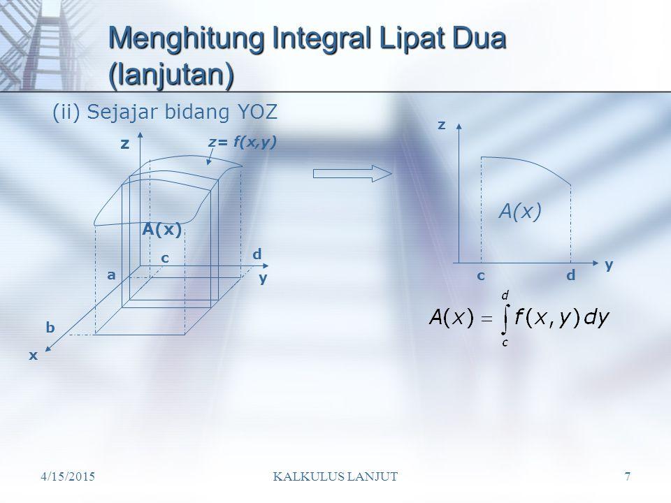 4/15/2015KALKULUS LANJUT7 Menghitung Integral Lipat Dua (lanjutan) (ii) Sejajar bidang YOZ y x z z= f(x,y) c a b d cd z y A(x)