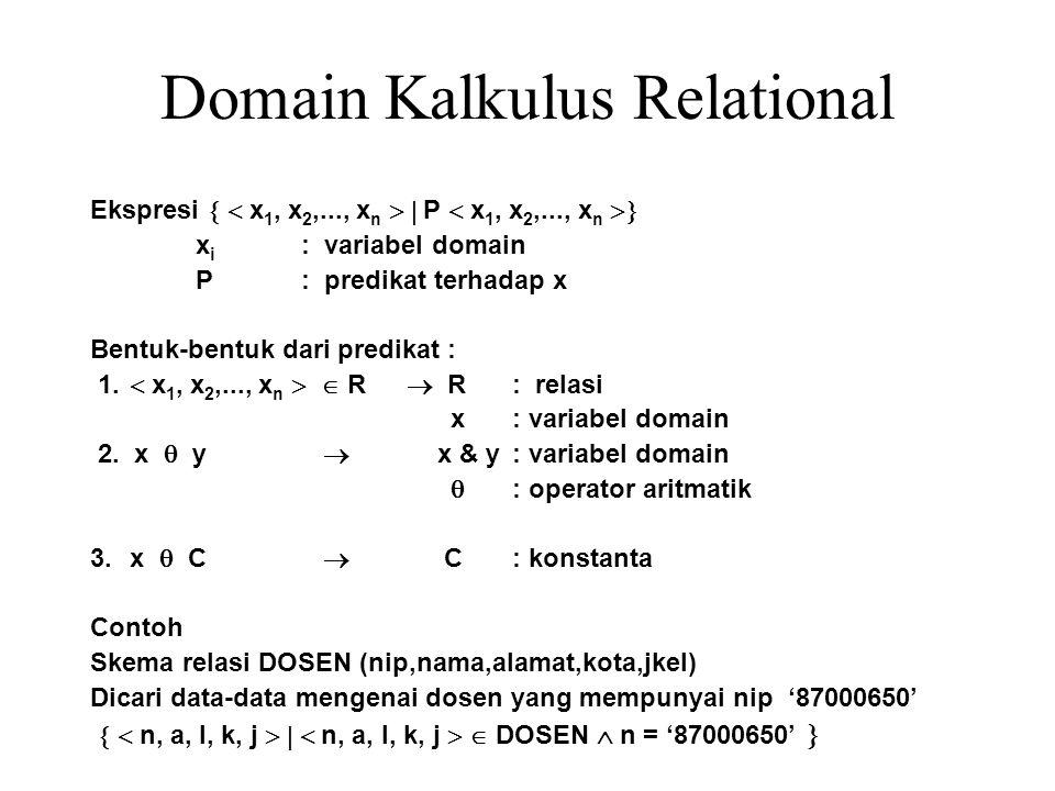 Domain Kalkulus Relational Ekspresi   x 1, x 2,..., x n   P  x 1, x 2,..., x n  x i : variabel domain P: predikat terhadap x Bentuk-bentuk dari
