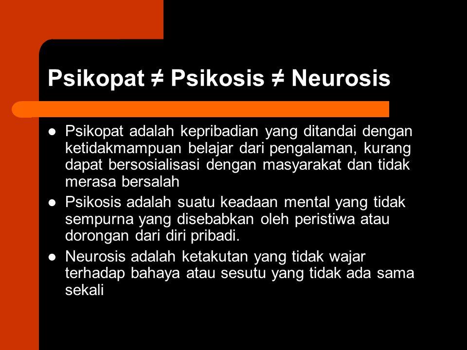 Psikopat ≠ Psikosis ≠ Neurosis Psikopat adalah kepribadian yang ditandai dengan ketidakmampuan belajar dari pengalaman, kurang dapat bersosialisasi de