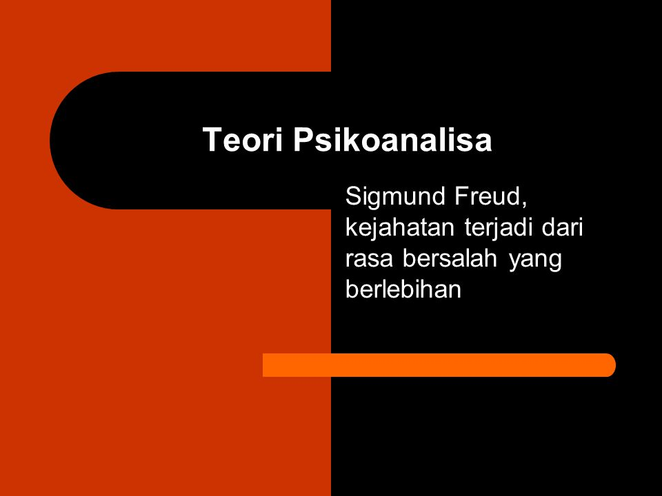 Teori Psikoanalisa Sigmund Freud, kejahatan terjadi dari rasa bersalah yang berlebihan