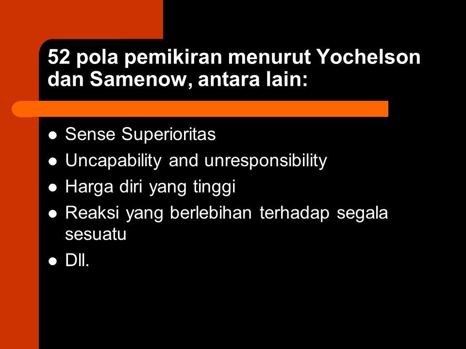 52 pola pemikiran menurut Yochelson dan Samenow, antara lain: Sense Superioritas Uncapability and unresponsibility Harga diri yang tinggi Reaksi yang