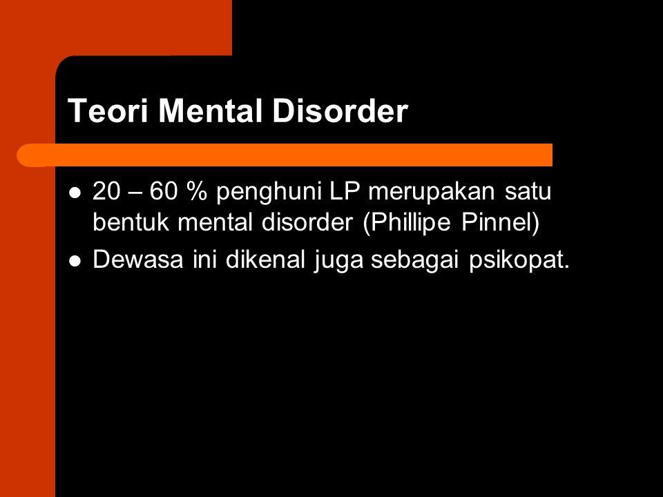 Teori Mental Disorder 20 – 60 % penghuni LP merupakan satu bentuk mental disorder (Phillipe Pinnel) Dewasa ini dikenal juga sebagai psikopat.