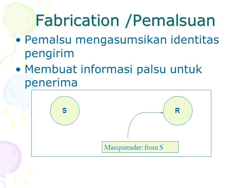 Fabrication /Pemalsuan Pemalsu mengasumsikan identitas pengirim Membuat informasi palsu untuk penerima SR Masquerader: from S