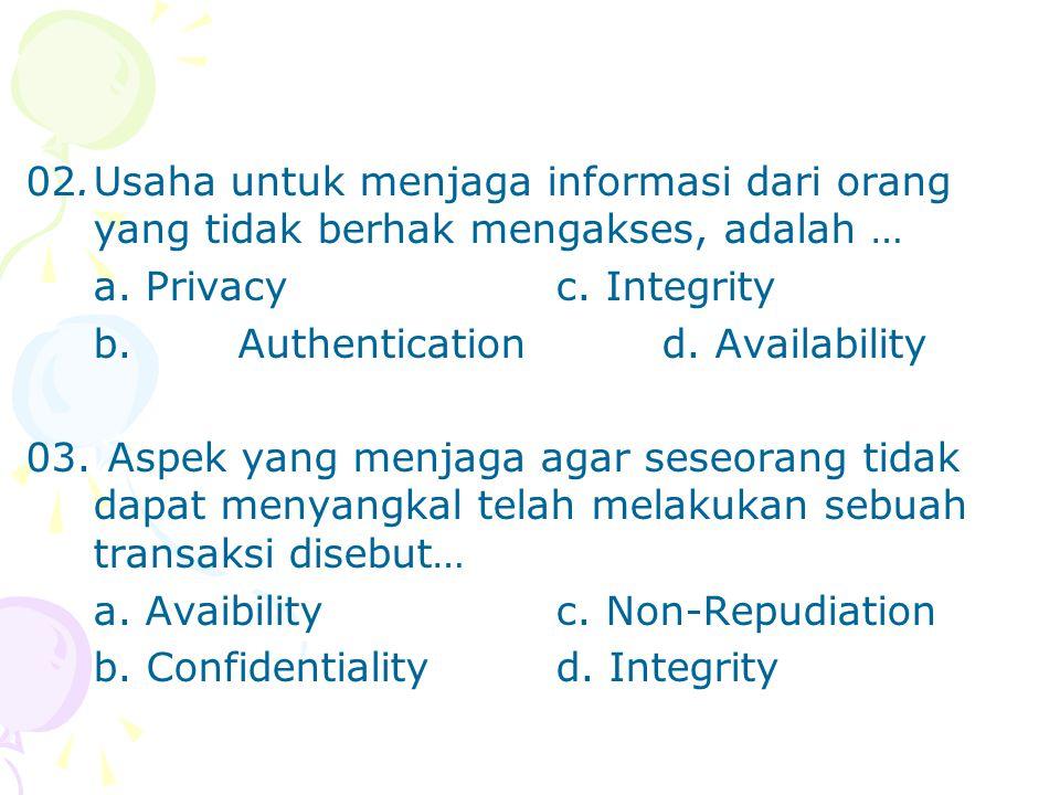 02.Usaha untuk menjaga informasi dari orang yang tidak berhak mengakses, adalah … a. Privacyc. Integrity b.Authenticationd. Availability 03. Aspek yan