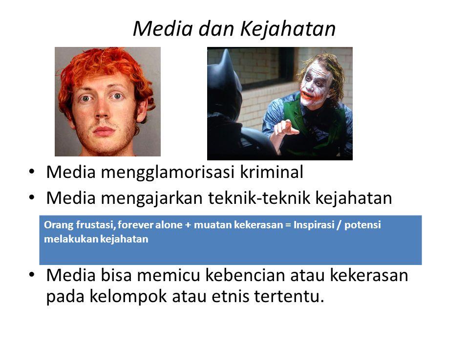 Media dan Kejahatan Media mengglamorisasi kriminal Media mengajarkan teknik-teknik kejahatan Media bisa memicu kebencian atau kekerasan pada kelompok atau etnis tertentu.