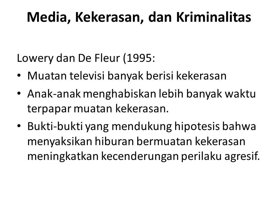 Media, Kekerasan, dan Kriminalitas Lowery dan De Fleur (1995: Muatan televisi banyak berisi kekerasan Anak-anak menghabiskan lebih banyak waktu terpapar muatan kekerasan.
