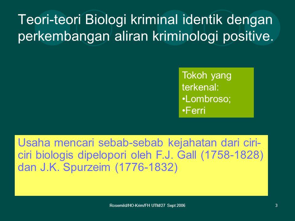 Rosemild/HO-Krim/FH UTM/27 Sept 20064 Aliran Biologi Kriminil bertolak dari pendapat Aristoteles yang menyatakan bahwa otak merupakan organ dari akal Apa Hubungannya.