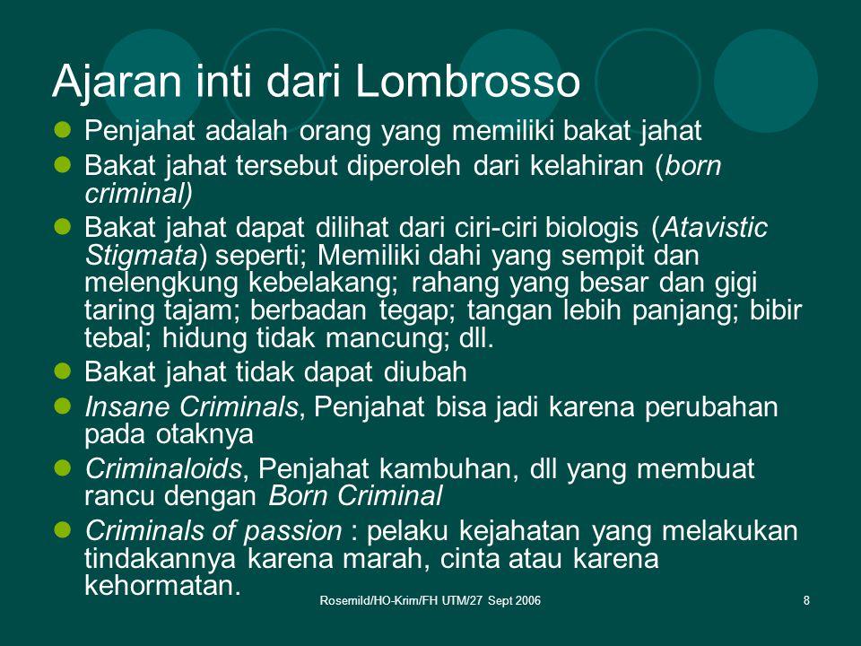 Rosemild/HO-Krim/FH UTM/27 Sept 20069 Banyak sekali kritikan terhadap ajaran Lombrosso diantaranya: A.