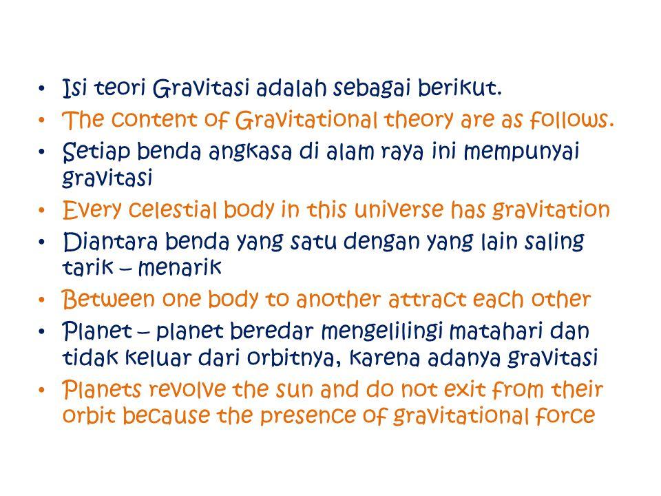 Isi teori Gravitasi adalah sebagai berikut. The content of Gravitational theory are as follows. Setiap benda angkasa di alam raya ini mempunyai gravit