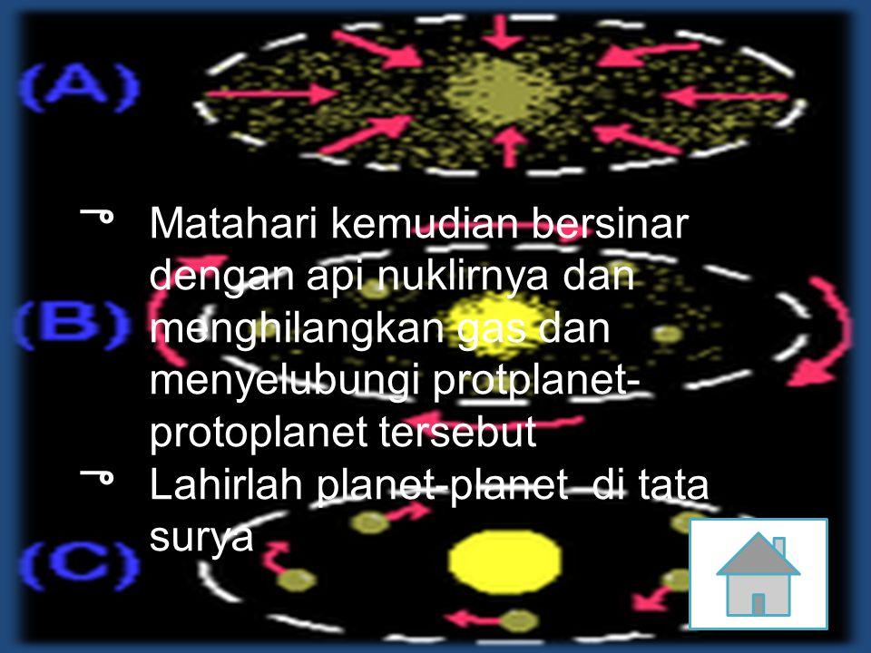 ு Matahari kemudian bersinar dengan api nuklirnya dan menghilangkan gas dan menyelubungi protplanet- protoplanet tersebut ு Lahirlah planet-planet di