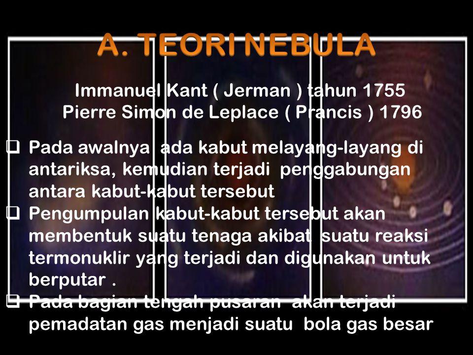 Immanuel Kant ( Jerman ) tahun 1755 Pierre Simon de Leplace ( Prancis ) 1796  Pada awalnya ada kabut melayang-layang di antariksa, kemudian terjadi p