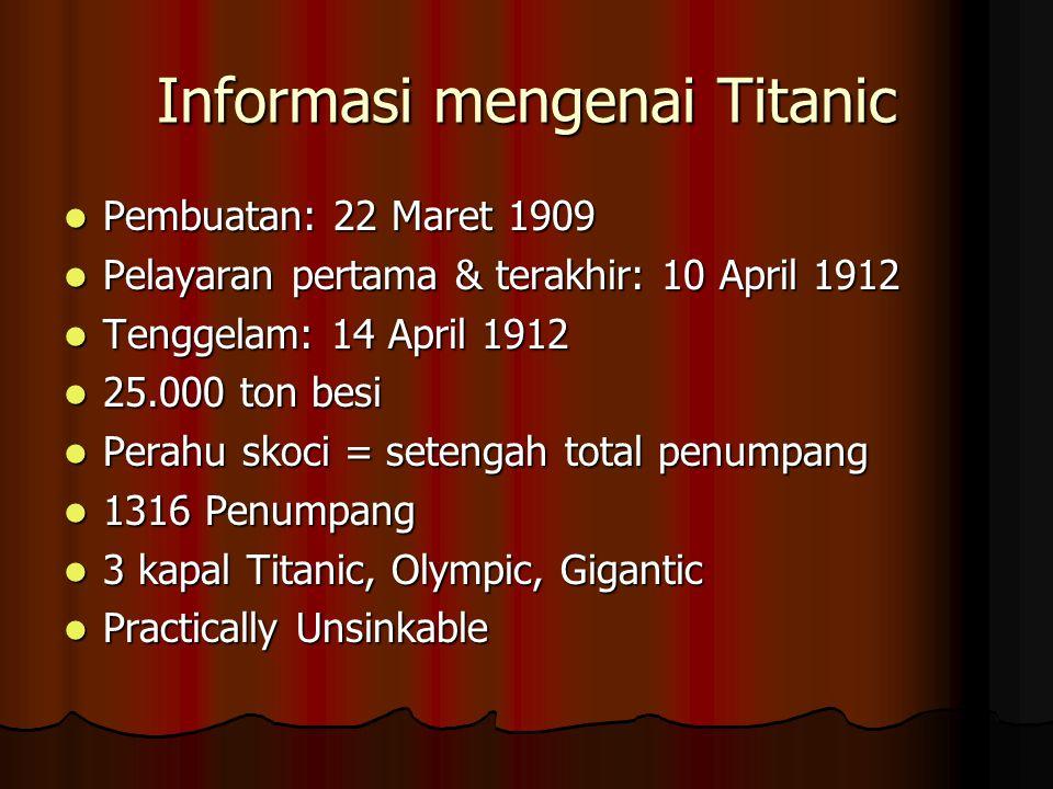 Informasi mengenai Titanic Pembuatan: 22 Maret 1909 Pembuatan: 22 Maret 1909 Pelayaran pertama & terakhir: 10 April 1912 Pelayaran pertama & terakhir: