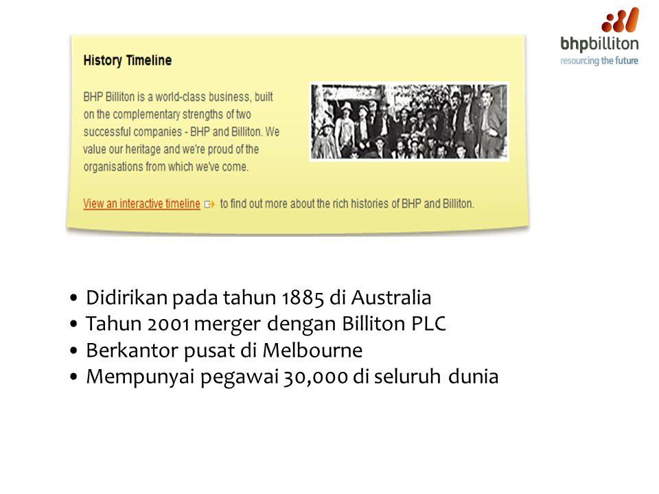 Didirikan pada tahun 1885 di Australia Tahun 2001 merger dengan Billiton PLC Berkantor pusat di Melbourne Mempunyai pegawai 30,000 di seluruh dunia