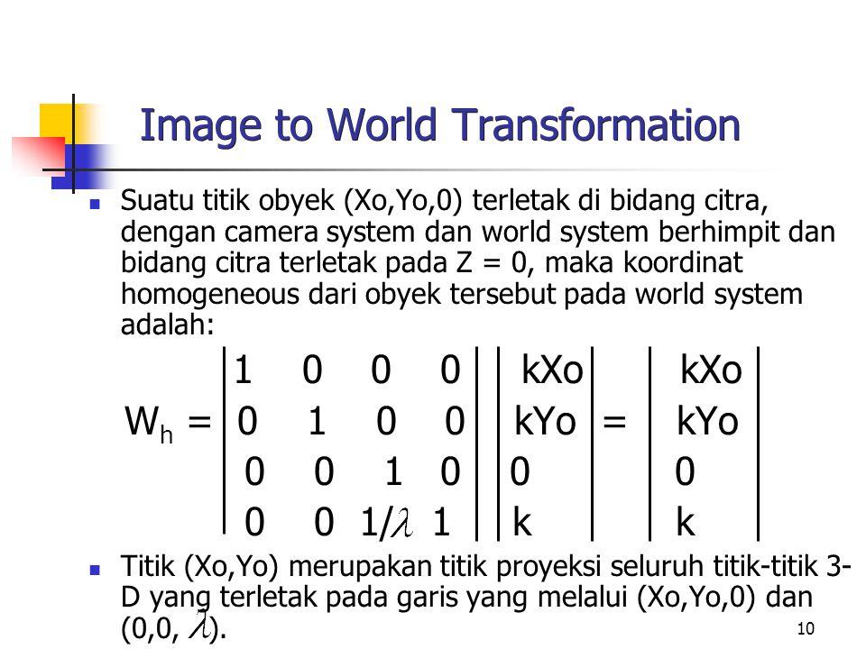 10 Image to World Transformation Suatu titik obyek (Xo,Yo,0) terletak di bidang citra, dengan camera system dan world system berhimpit dan bidang citr
