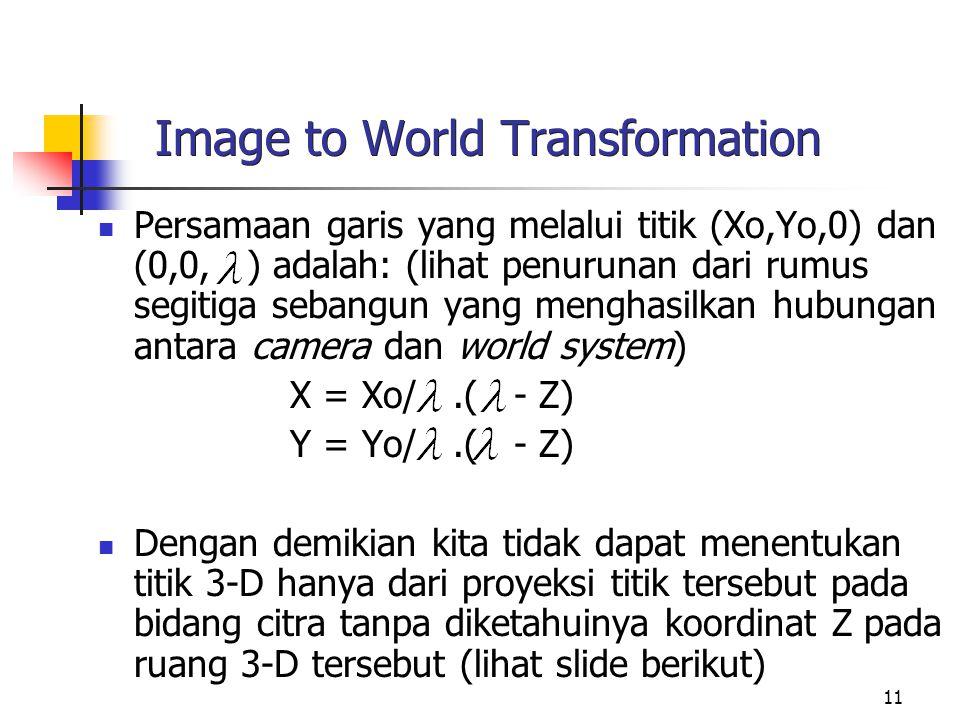 11 Image to World Transformation Persamaan garis yang melalui titik (Xo,Yo,0) dan (0,0, ) adalah: (lihat penurunan dari rumus segitiga sebangun yang m