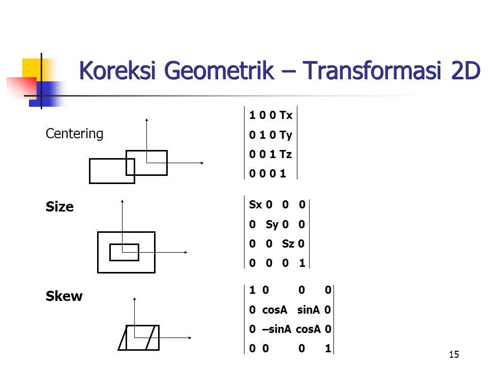 15 Koreksi Geometrik – Transformasi 2D Centering Size Skew 1 0 0 Tx 0 1 0 Ty 0 0 1 Tz 0 0 0 1 Sx 0 0 0 0 Sy 0 0 0 0 Sz 0 0 0 0 1 1 0 0 0 0 cosA sinA 0