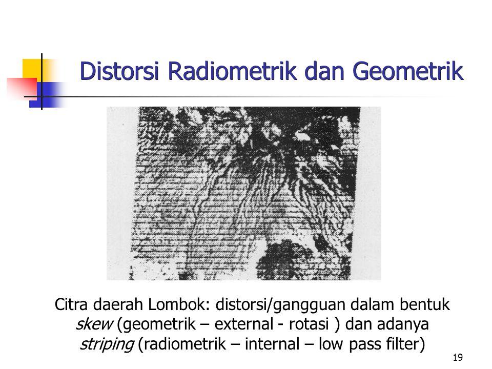 19 Distorsi Radiometrik dan Geometrik Citra daerah Lombok: distorsi/gangguan dalam bentuk skew (geometrik – external - rotasi ) dan adanya striping (r