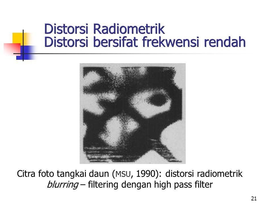 21 Distorsi Radiometrik Distorsi bersifat frekwensi rendah Citra foto tangkai daun ( MSU, 1990): distorsi radiometrik blurring – filtering dengan high
