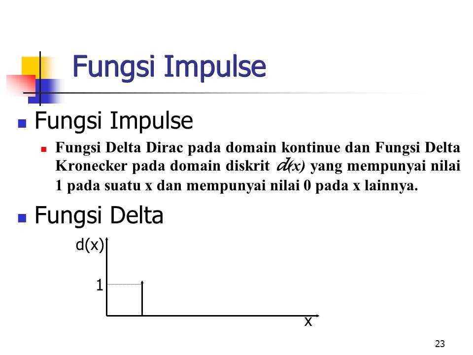 23 Fungsi Impulse Fungsi Delta Dirac pada domain kontinue dan Fungsi Delta Kronecker pada domain diskrit d (x) yang mempunyai nilai 1 pada suatu x dan