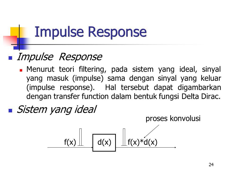 24 Impulse Response Menurut teori filtering, pada sistem yang ideal, sinyal yang masuk (impulse) sama dengan sinyal yang keluar (impulse response). Ha