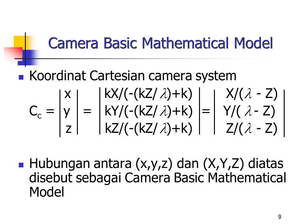 10 Image to World Transformation Suatu titik obyek (Xo,Yo,0) terletak di bidang citra, dengan camera system dan world system berhimpit dan bidang citra terletak pada Z = 0, maka koordinat homogeneous dari obyek tersebut pada world system adalah: 1 0 0 0 kXo kXo W h = 0 1 0 0 kYo = kYo 0 0 1 0 0 0 0 0 1/ 1 k k Titik (Xo,Yo) merupakan titik proyeksi seluruh titik-titik 3- D yang terletak pada garis yang melalui (Xo,Yo,0) dan (0,0, ).