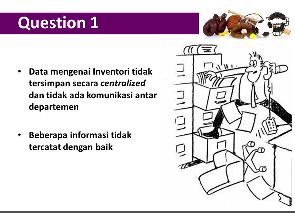 Question 1 Data mengenai Inventori tidak tersimpan secara centralized dan tidak ada komunikasi antar departemen Beberapa informasi tidak tercatat deng