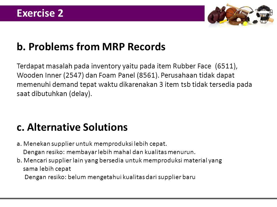 b. Problems from MRP Records Terdapat masalah pada inventory yaitu pada item Rubber Face (6511), Wooden Inner (2547) dan Foam Panel (8561). Perusahaan