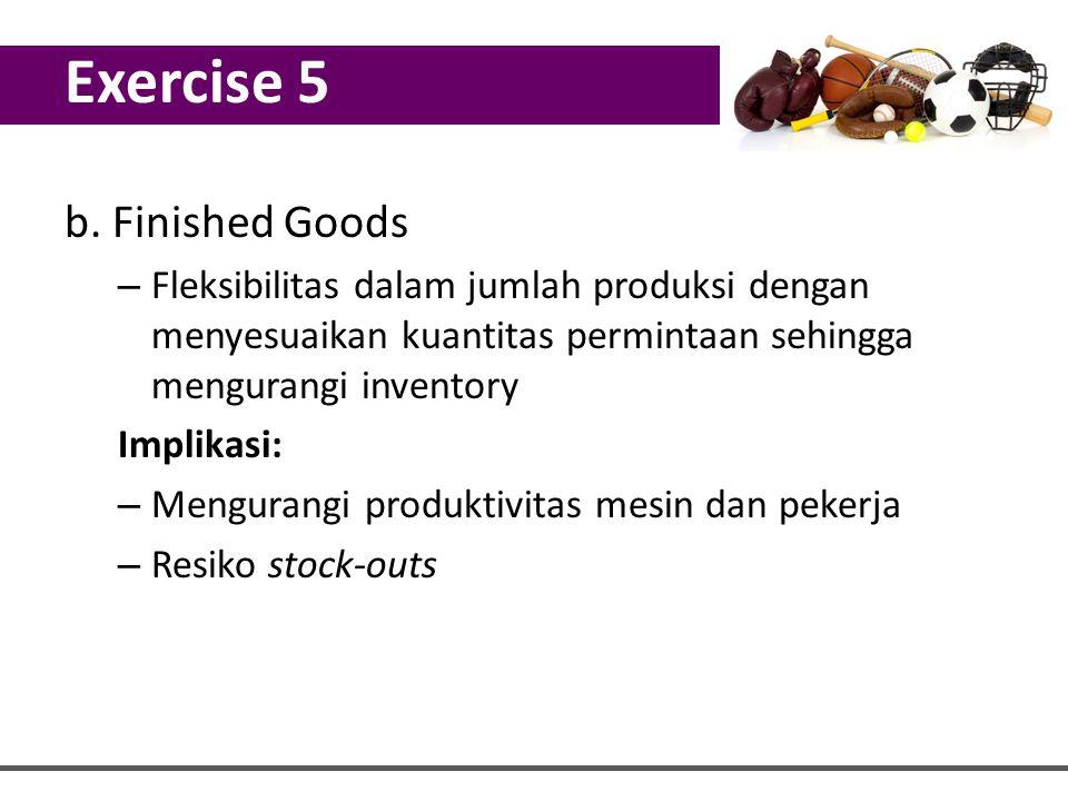 b. Finished Goods – Fleksibilitas dalam jumlah produksi dengan menyesuaikan kuantitas permintaan sehingga mengurangi inventory Implikasi: – Mengurangi