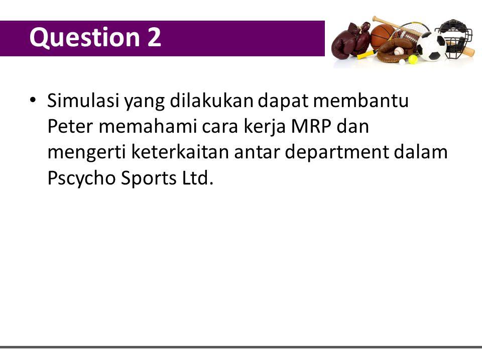 Simulasi yang dilakukan dapat membantu Peter memahami cara kerja MRP dan mengerti keterkaitan antar department dalam Pscycho Sports Ltd. Question 2