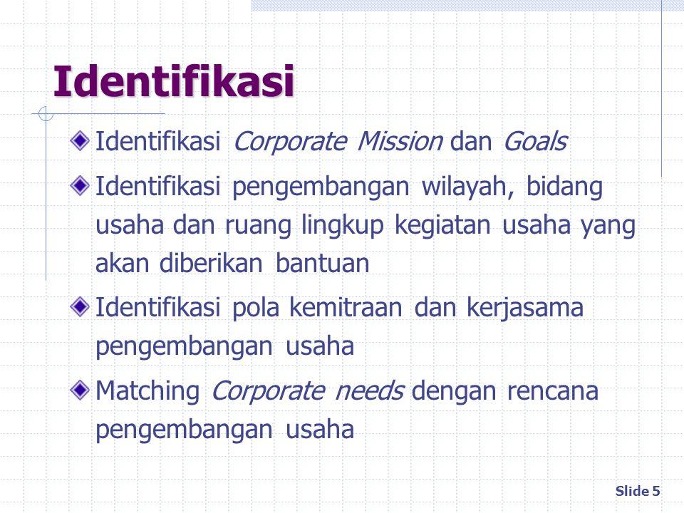 Slide 5 Identifikasi Identifikasi Corporate Mission dan Goals Identifikasi pengembangan wilayah, bidang usaha dan ruang lingkup kegiatan usaha yang ak