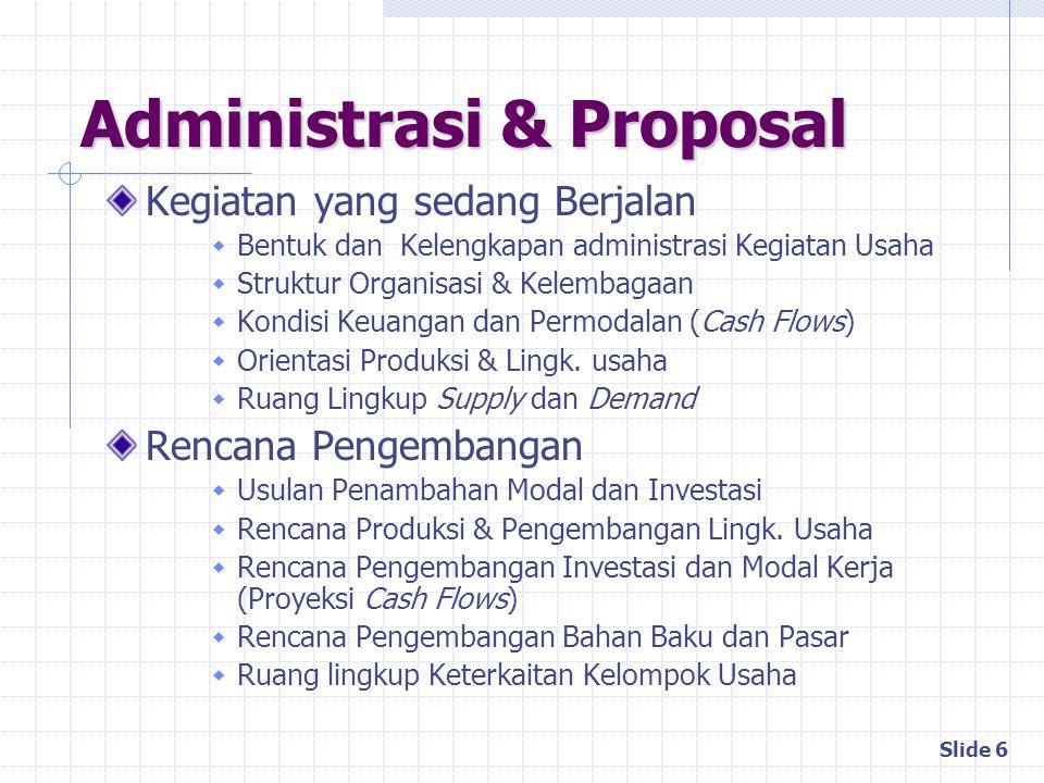 Slide 6 Administrasi & Proposal Kegiatan yang sedang Berjalan  Bentuk dan Kelengkapan administrasi Kegiatan Usaha  Struktur Organisasi & Kelembagaan