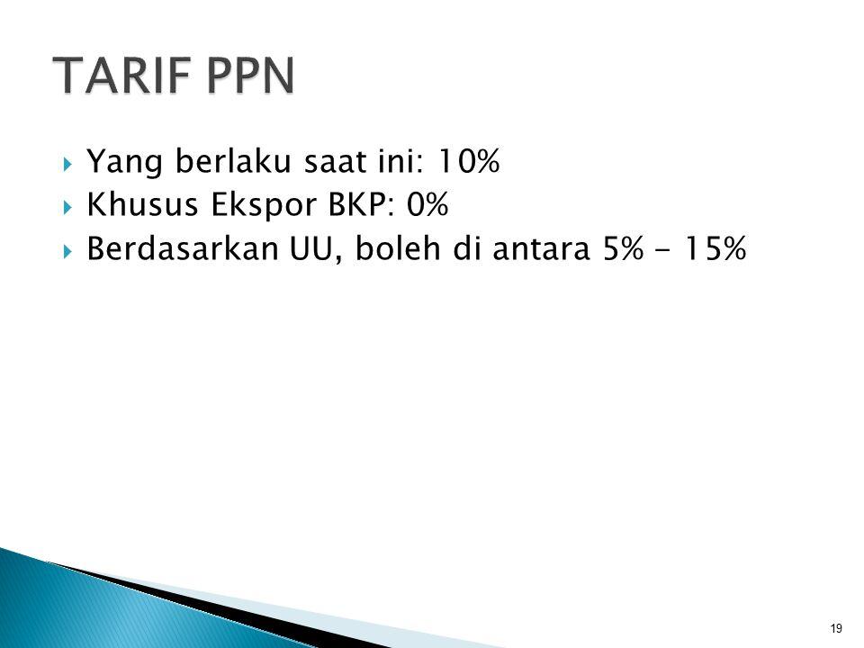  Yang berlaku saat ini: 10%  Khusus Ekspor BKP: 0%  Berdasarkan UU, boleh di antara 5% - 15% 19