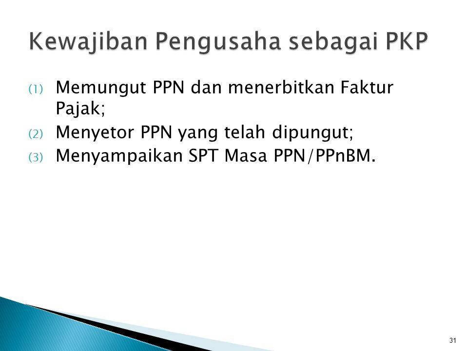 (1) Memungut PPN dan menerbitkan Faktur Pajak; (2) Menyetor PPN yang telah dipungut; (3) Menyampaikan SPT Masa PPN/PPnBM. 31