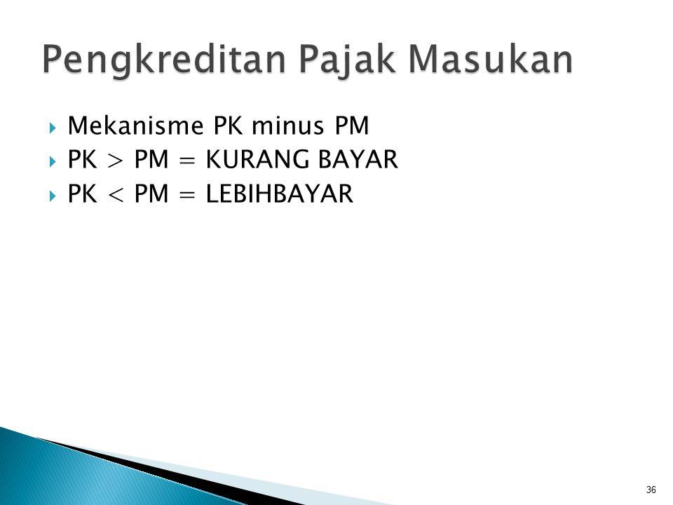  Mekanisme PK minus PM  PK > PM = KURANG BAYAR  PK < PM = LEBIHBAYAR 36